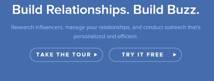 Landing page for Buzzstream.