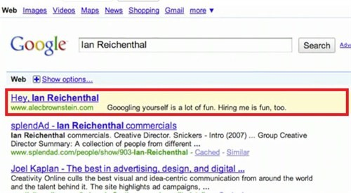 Ian Reichenthal's Google Ad