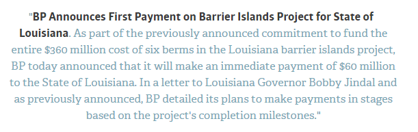 BP announces first payment on Barrier Islands Project for State of Louisana