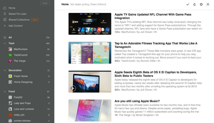 Showing you the home page of Feedly.