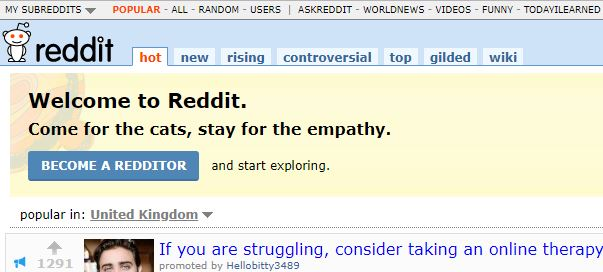 Showing you what reddit looks like
