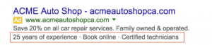 Call out extensions for Google Ads show users what your USP is