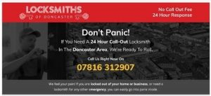 Example of a landing page to show good headlines, headline is; Don't Panic! If You Need A 24 Hour Call-Out Locksmith In The Doncaster Area, We're Ready To Roll.
