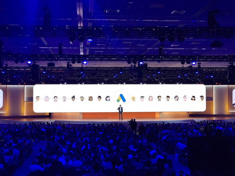 A speaker at Google Marketing Live 2019