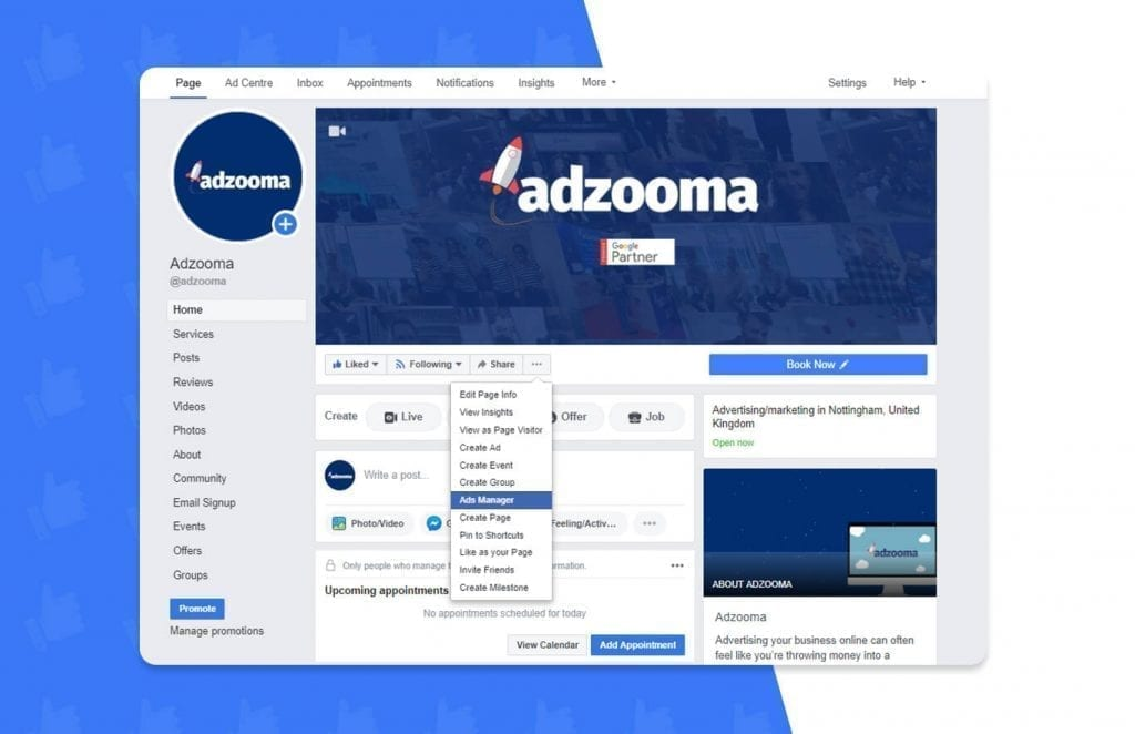 Adzooma Facebook page