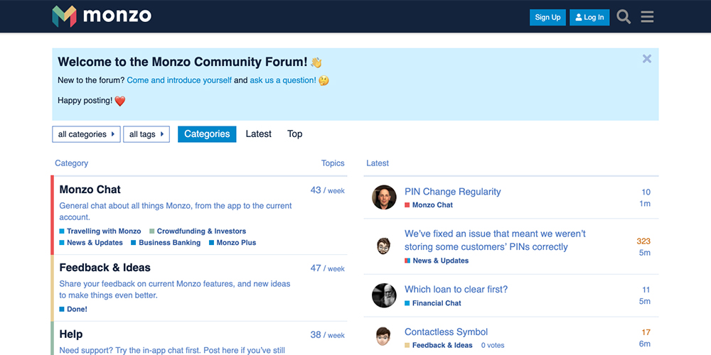 Monzo community board