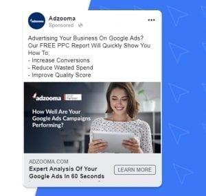 Adzooma Facebook ad