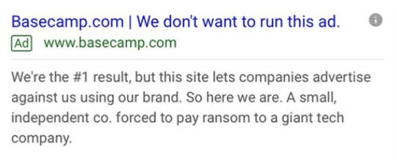 Basecamp's infamous Google ad