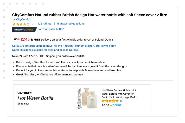 Another hot water bottle listing