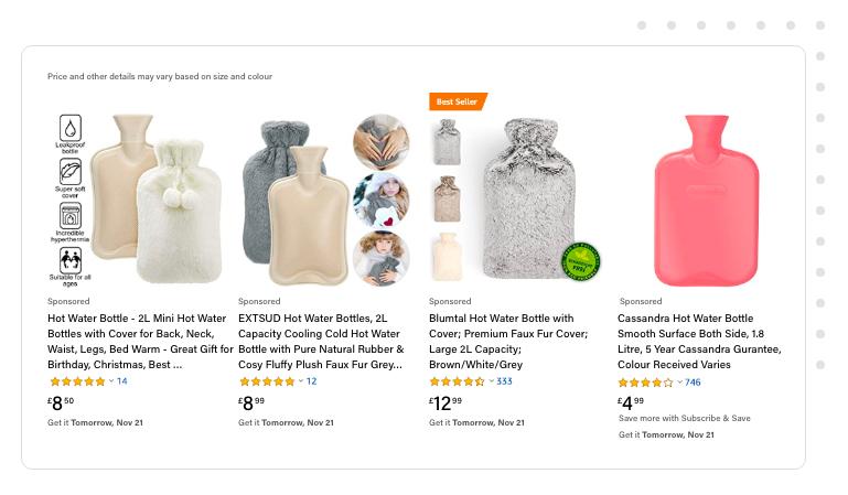 Hot water bottles listing