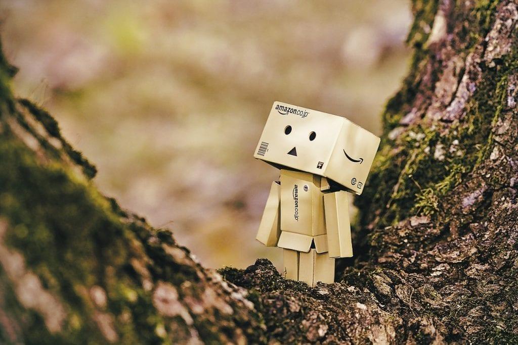 An Amazon box robot
