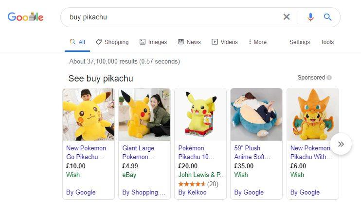 Google Shopping ads for Pikachu