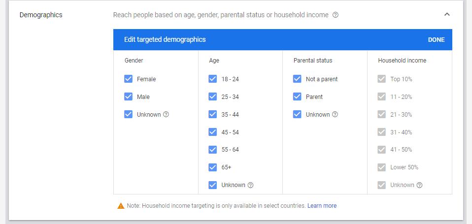 Demographics screen in Google Ads
