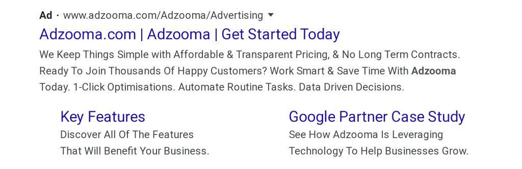 New Google ad on a Google SERP