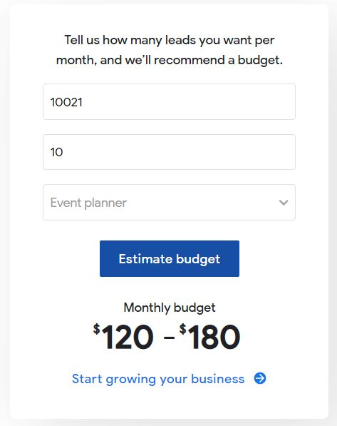 Estimate your monthly LSA budget