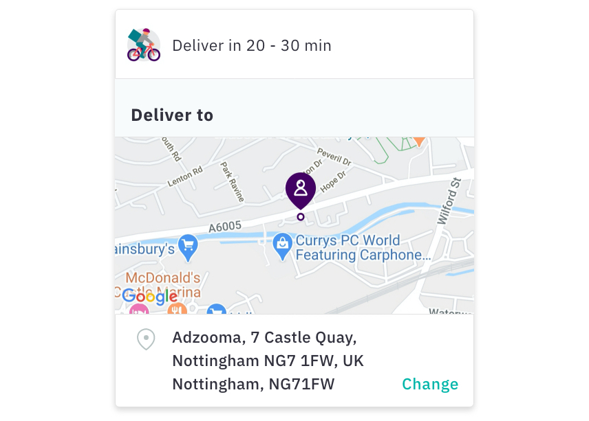 Deliveroo order to Adzooma's address