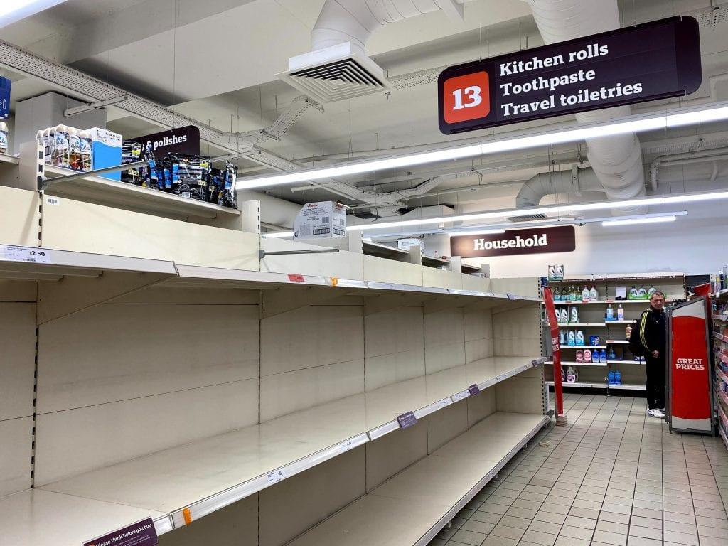 Empty supermarket shelves in Sainsburys