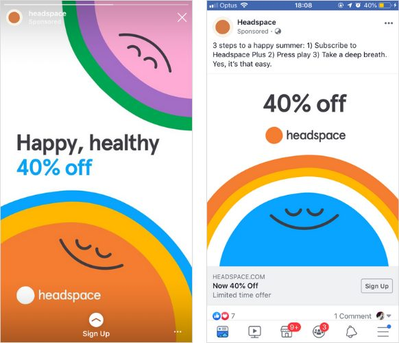 Headspace paid ads on Instagram and Facebook