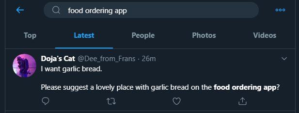 food ordering app tweet
