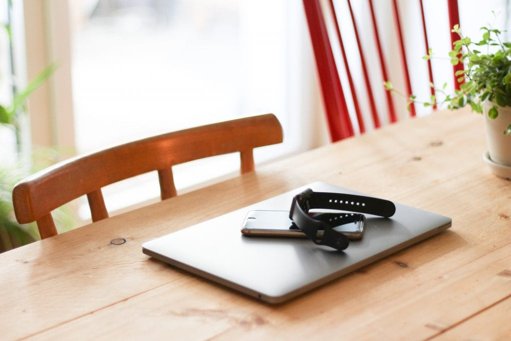 Image of a laptop on a kitchen table