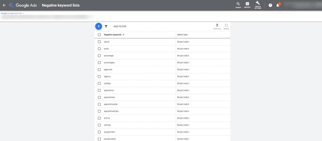 Negative keyword list in Google Ads