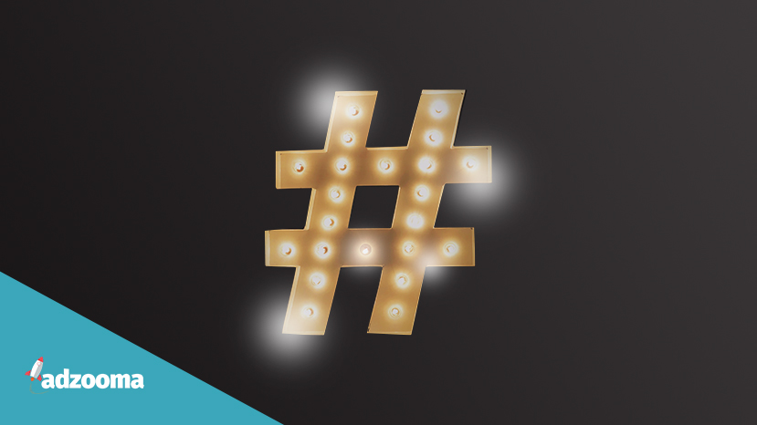Featured image with a hashtag in lights