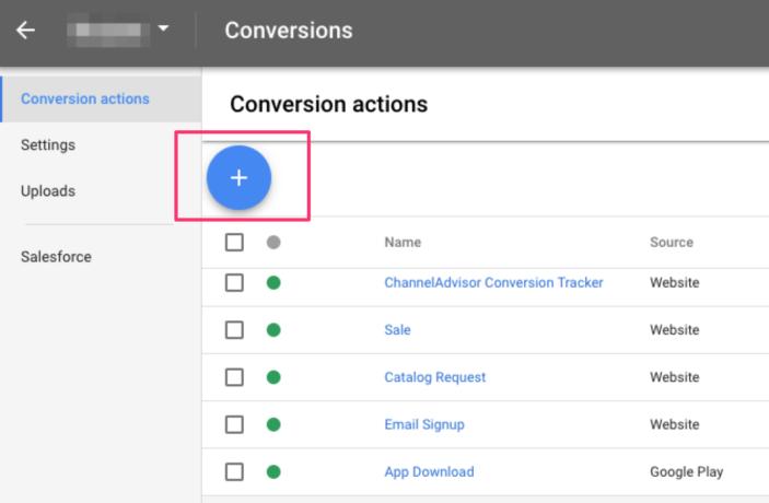 Google Ads screen where you add conversion