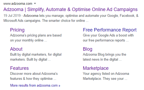 "Google Search Result for query ""adzooma"""