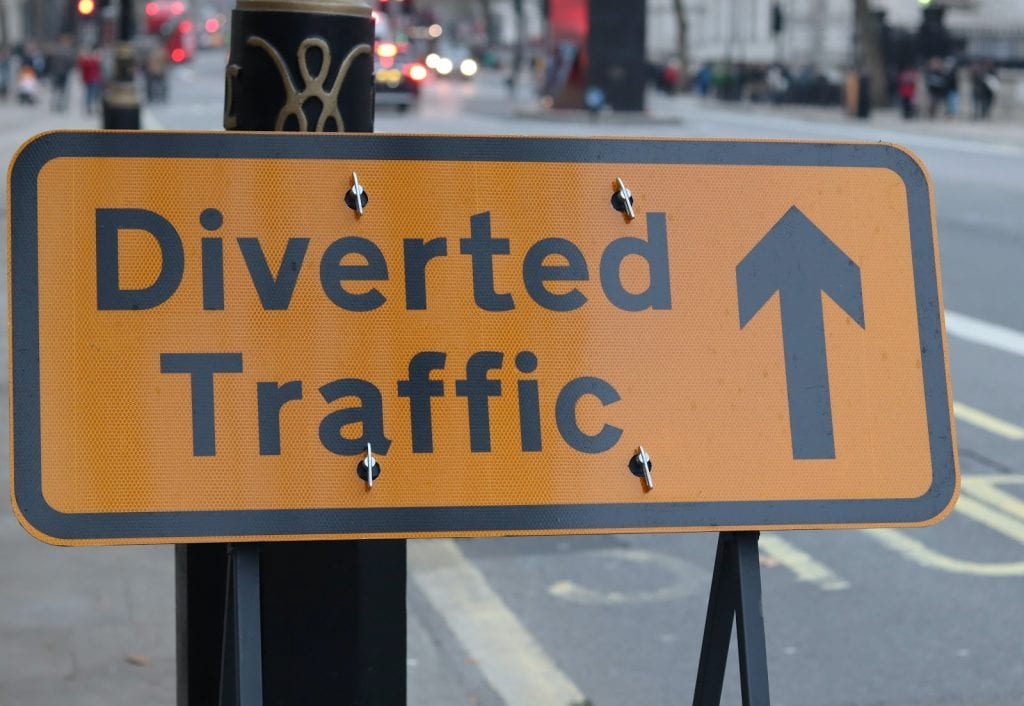 A diverted traffic sign