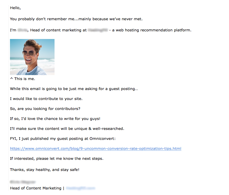 A screenshot of a bad outreach email