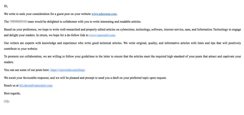 A screenshot of another bad outreach email
