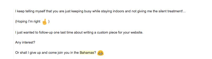 Weird follow-up email