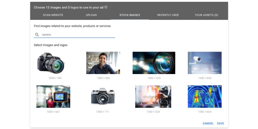 A screenshot showing Shutterstock Images inside the Google Ads platform