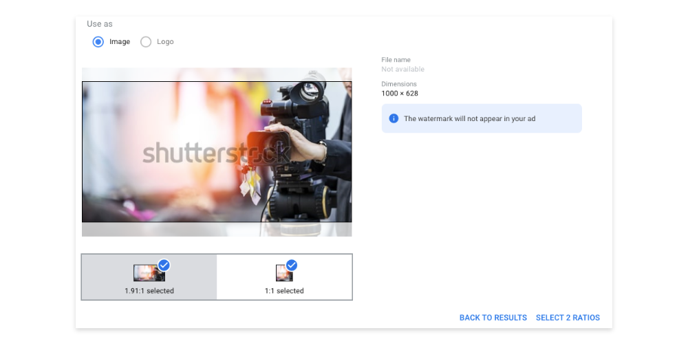An image showing how to reposition a Shutterstock image inside Google Ads