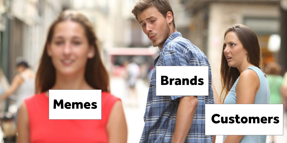 "A man (representing the word ""Brands"") looks at the back of a woman (representing the word ""Memes""), admiring her appearance, while his girlfriend (representing the word ""Customers"") looks at him in disgust."