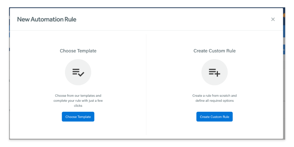 Create a new automation rule screen