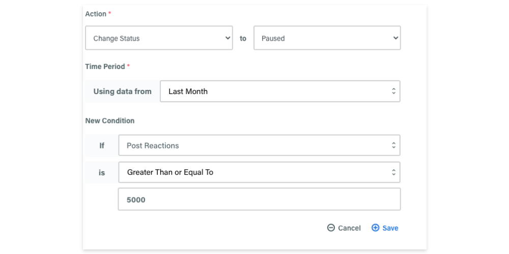 An example of a custom automation rule inside adzooma
