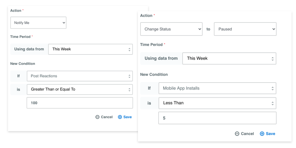 Facebook automation rules in the Adzooma platform