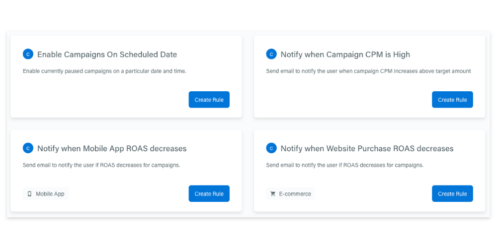 Ane example of industry-selected automation rules inside the Adzooma platform