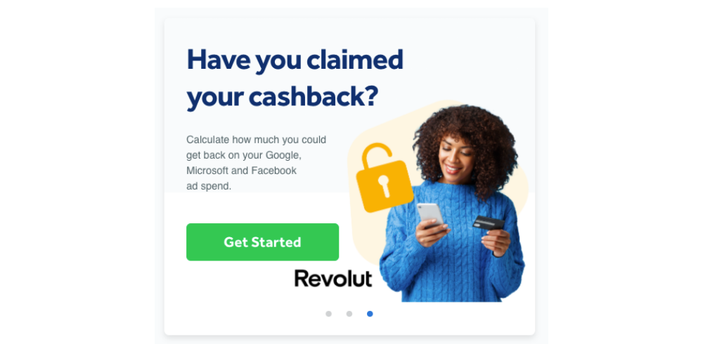 An image of the Revolut cashback offer inside Adzooma