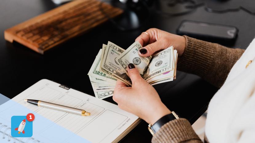 A person handling money
