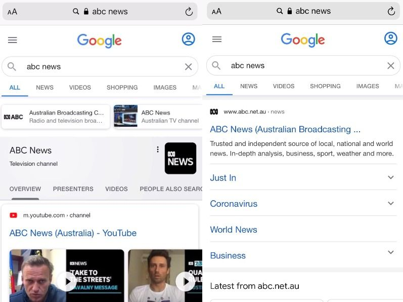 An Australian SERP showing the ABC site link having disappeared from the left side compared to the right side