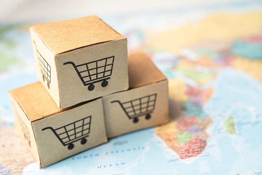 Shopping cart logo on box with on Africa map background; Banking Account, Investment Analytic research data economy, trading, Business import export online company concept.