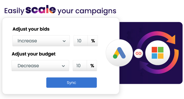 Image shows how Ad Sync by Adzooma allows customers to easily scale their Google campaigns on Microsoft